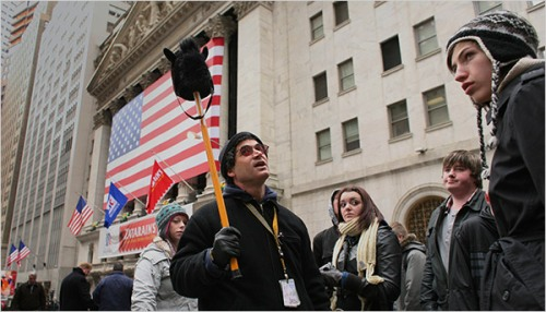 A possible new career for the unemployed in the financial district: Use what you know as a tour guide.